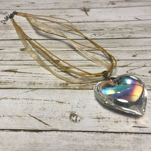 18 kgp necklace with iridescent glass pendant